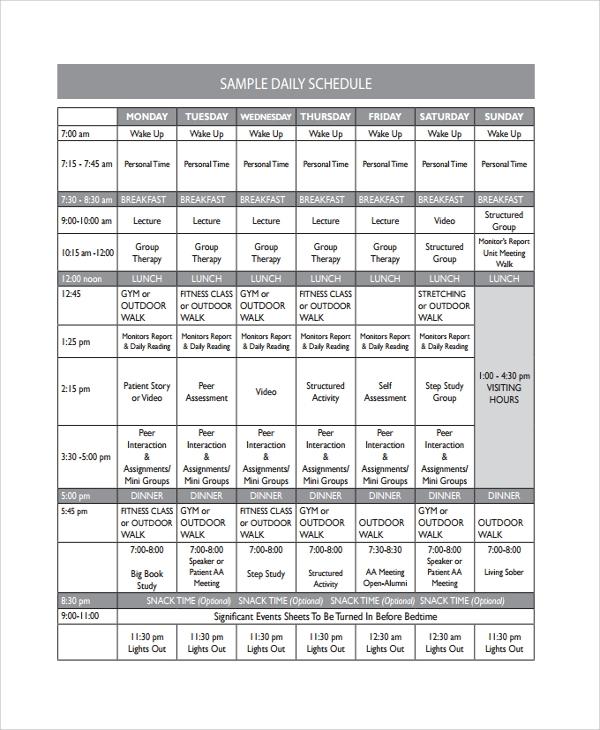 sample daily timetable template