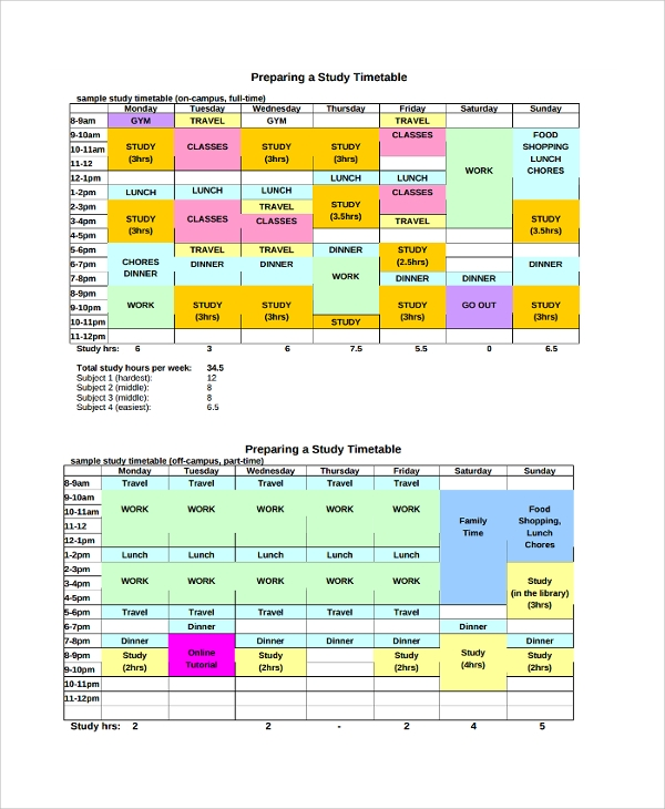 Sample Daily Timetable Template - 9+ Free Documents Download In