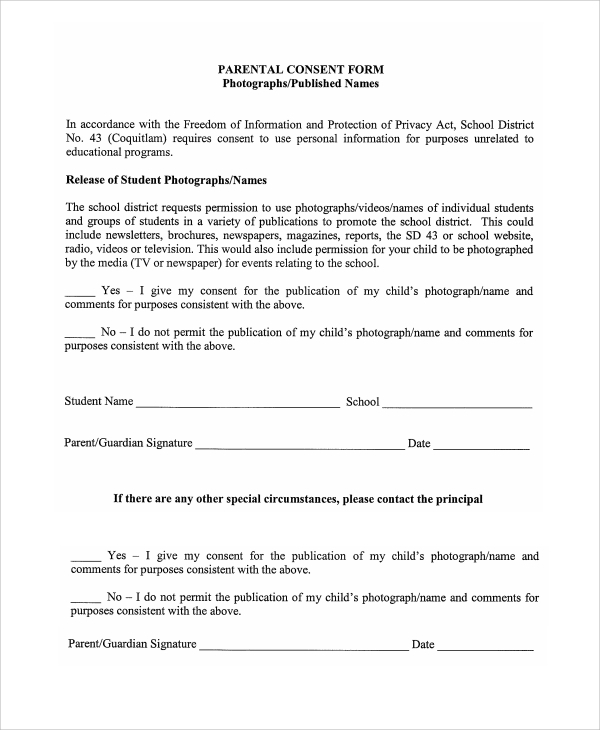Privacy Act Release Form Parental Photography Consent Form Sample