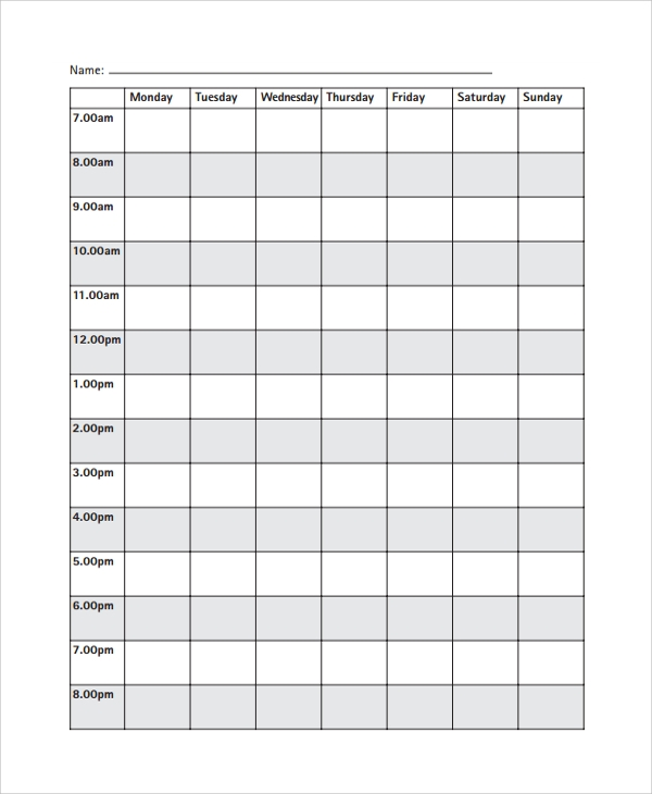 Sample Daily Timetable Template   Free Documents Download In