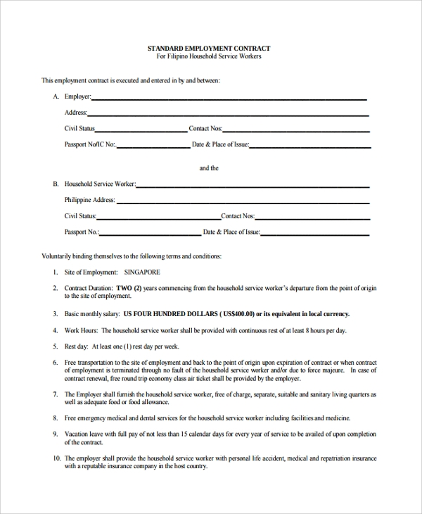 Job Contract Templates. Standard Employment Contract Form Sample ...