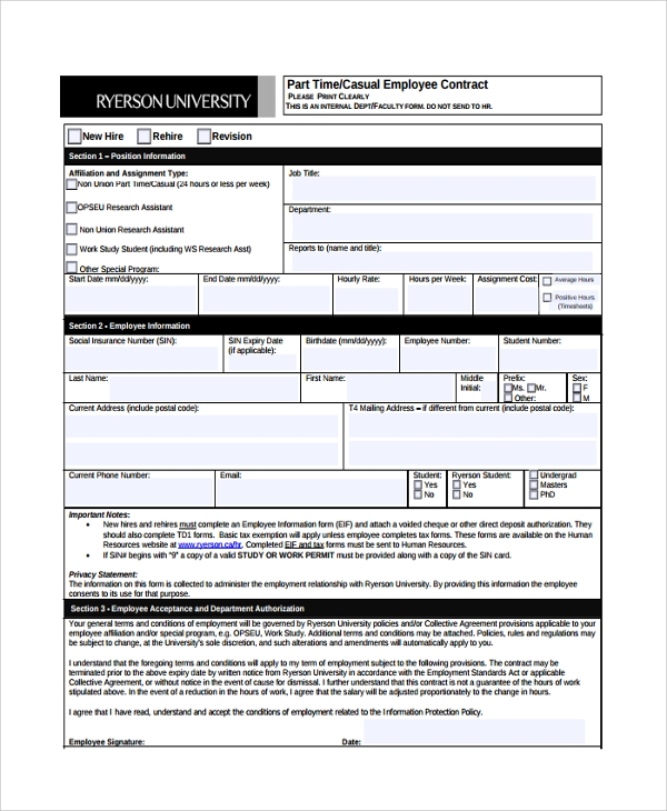 Sample Employment Contract Form   Free Documents Download In