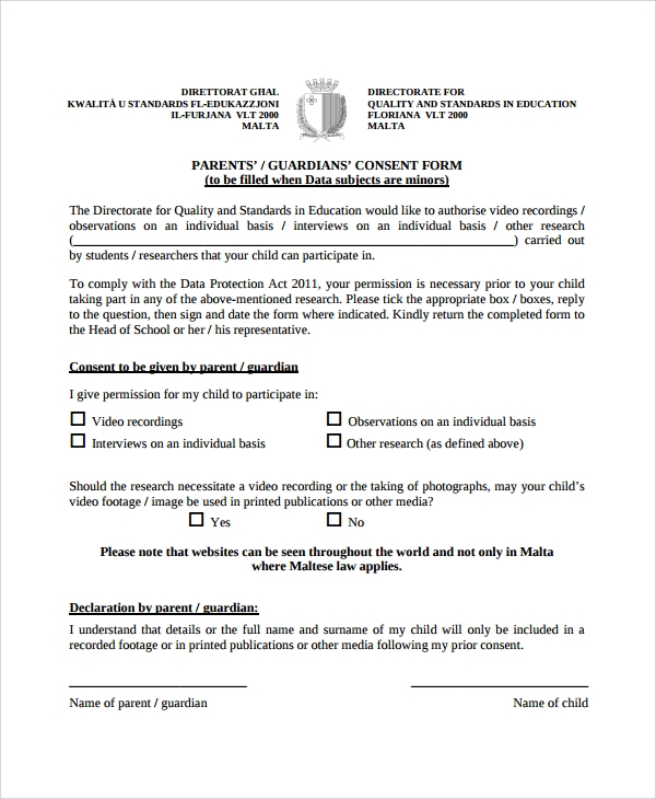 consent form template for children - 10 interview consent forms sample templates