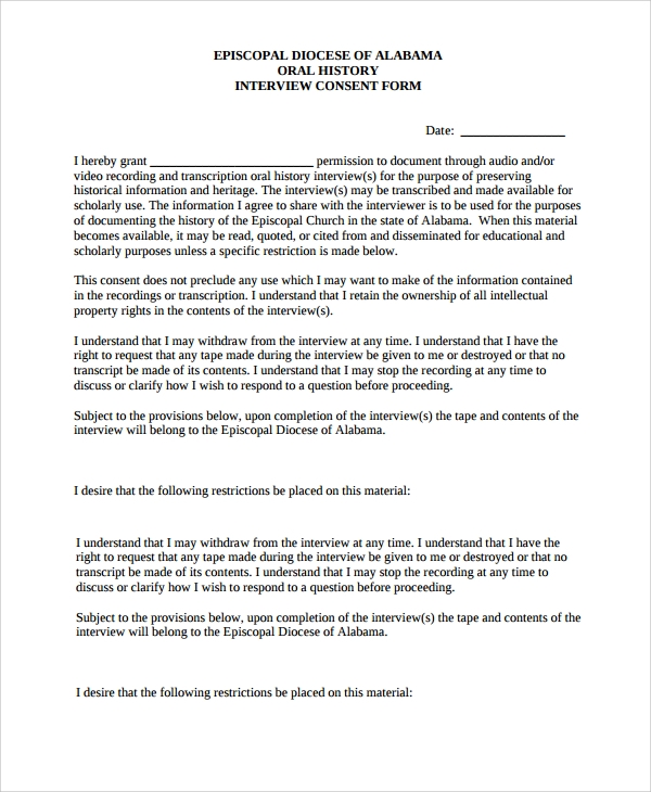 history interview consent form