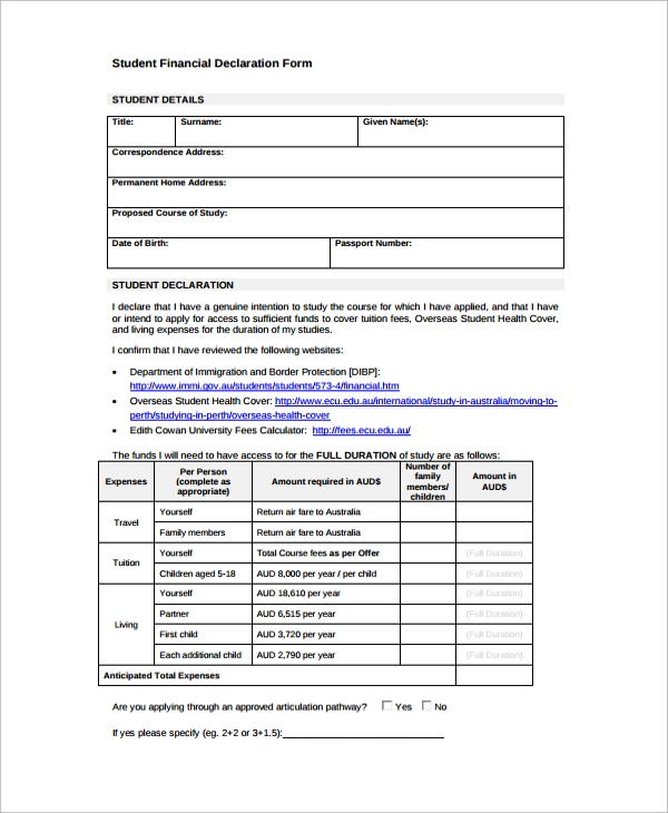 Sample Financial Declaration Form   Free Documents Download In