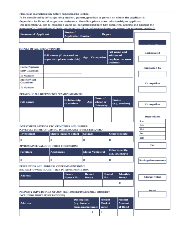 declaration of financial position form