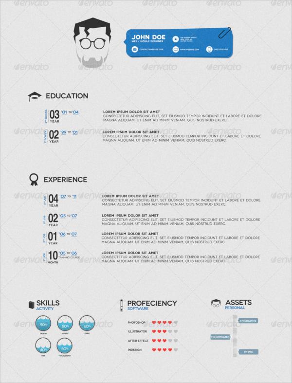 minimalistic psd resume template