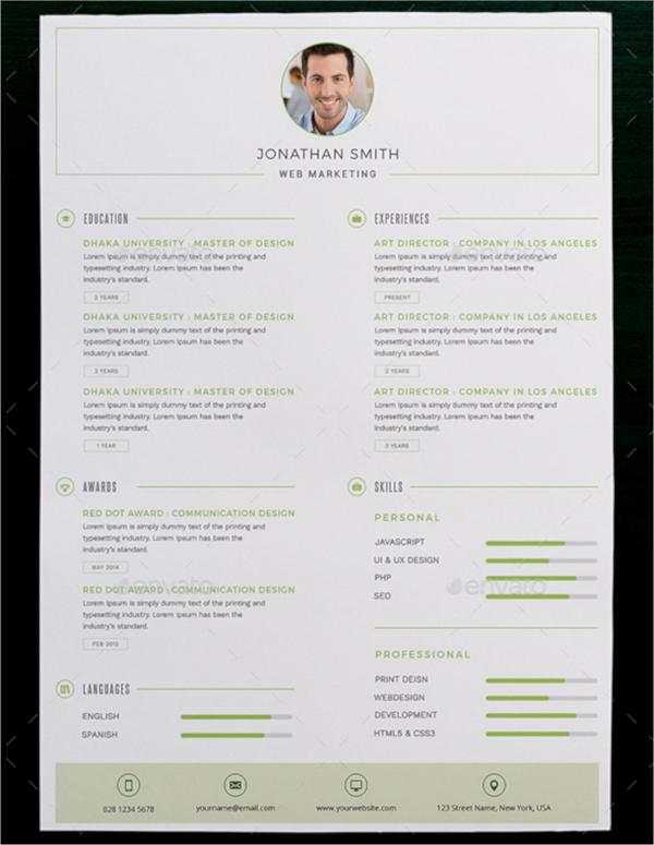 layered psd resume template