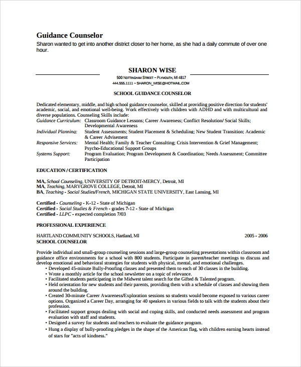 Sample Guidance Counselor Resume 8 Free Documents