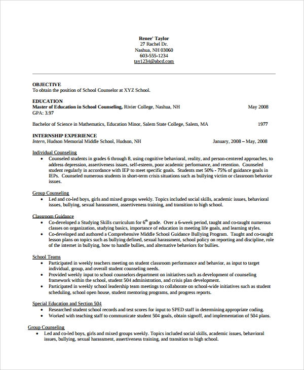 sample school counselor resume