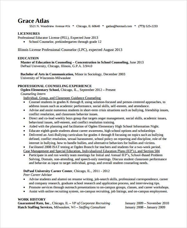 Sample Guidance Counselor Resume   Free Documents Download In