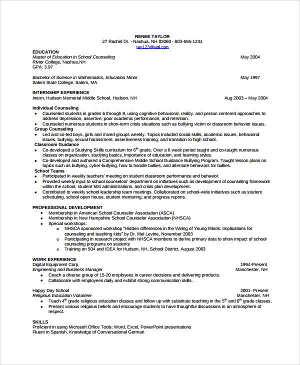 guidance counselor resume format