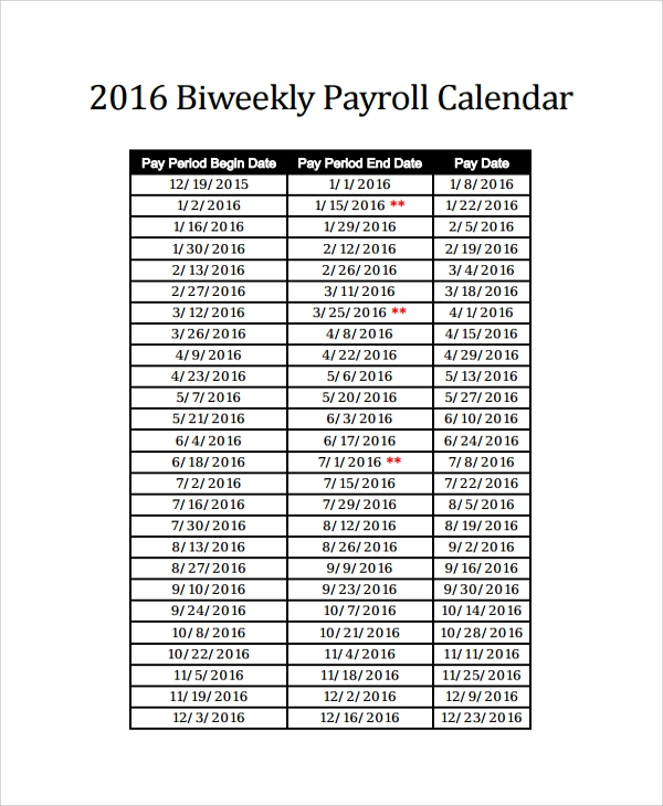 sample payroll calendar template 9 free documents download in pdf