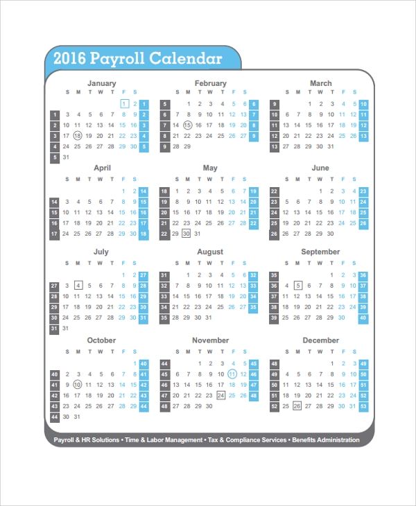 10 payroll calendar templates sample templates. Black Bedroom Furniture Sets. Home Design Ideas