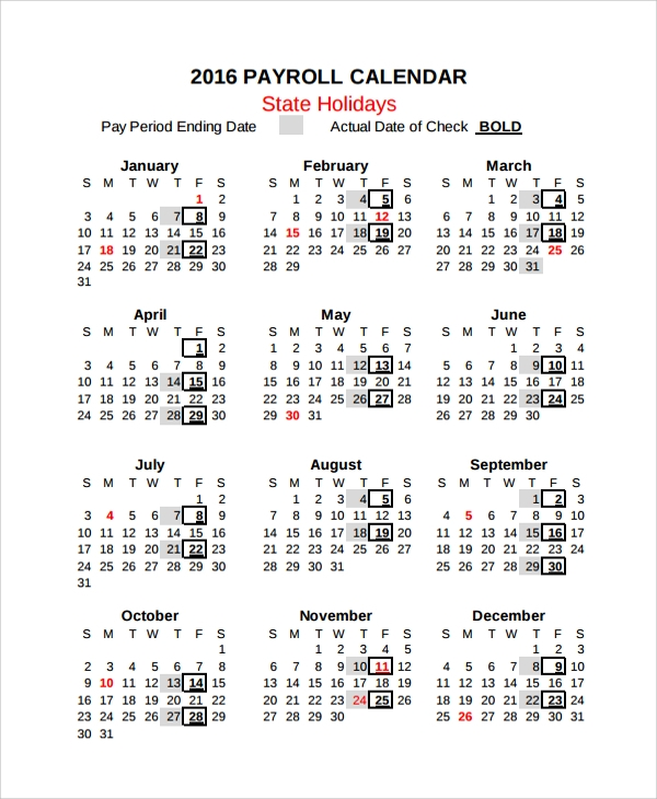 Sample Payroll Calendar Template   Free Documents Download In Pdf