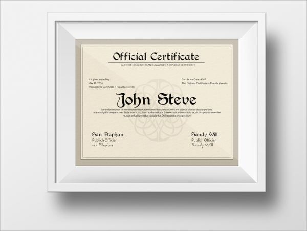 Official PSD Certificate Template  Official Certificate Template