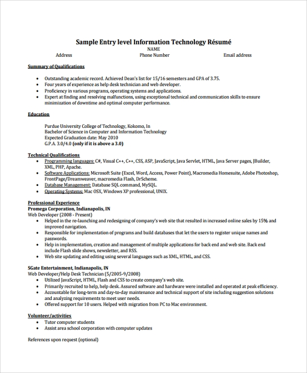 Entry Level Help Desk Technician Resume