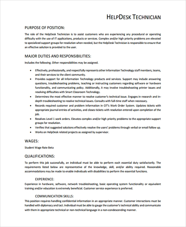 help desk technician resume template 8 free documents download in