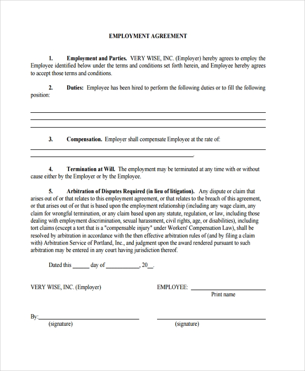Sample Employment Arbitration Agreement   Free Documents Download