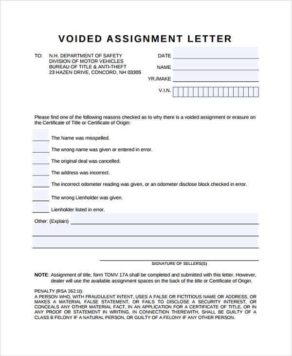 10 Assignment Letters Sample Templates