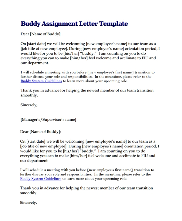 10+ Assignment Letters | Sample Templates