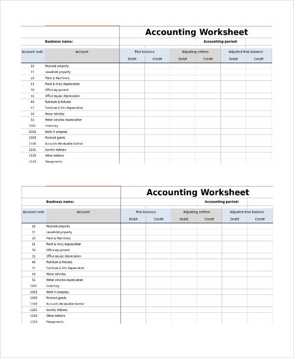 Sample Accounting Worksheet Template 8 Free Documents Download – Sample Worksheet