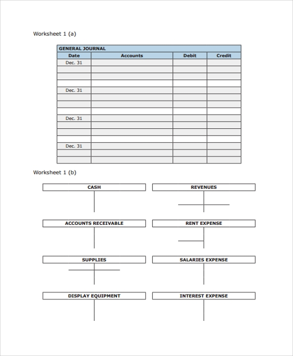 Accounting Journal Worksheet Template