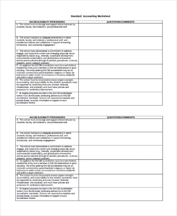 Standard Accounting Worksheet Template