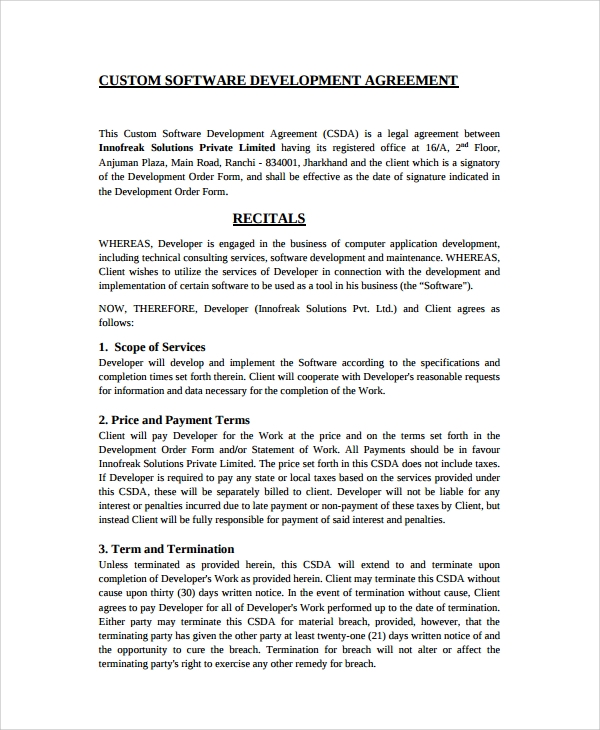 Sample Software Development Agreement Template - 9+ Free Documents