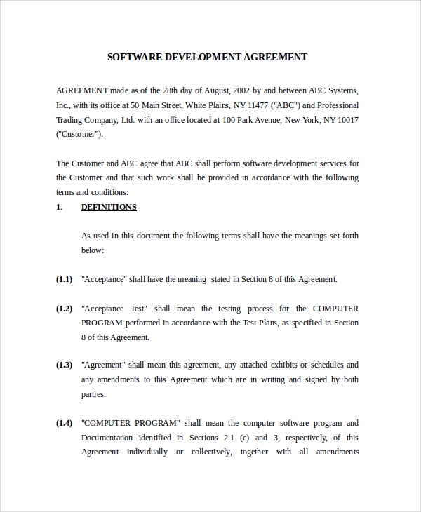 Sample Software Development Agreement Template   Free Documents