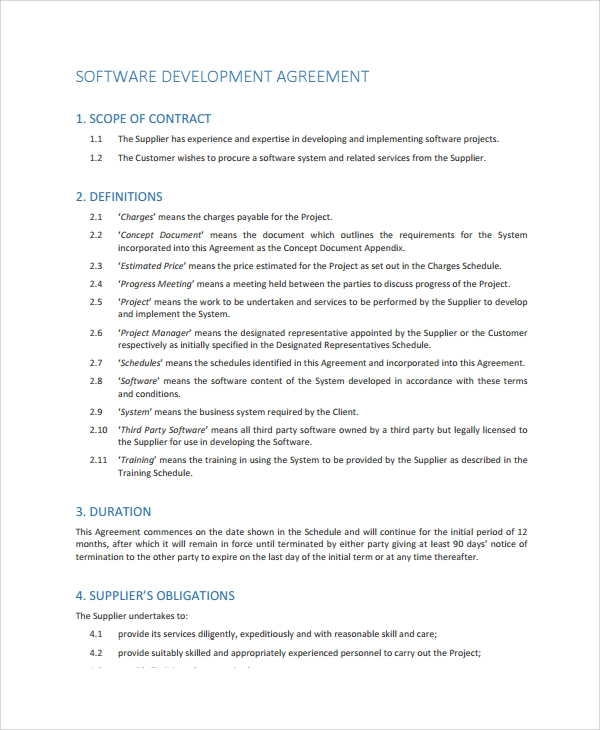 10 software development agreement templates sample for Software development terms and conditions template