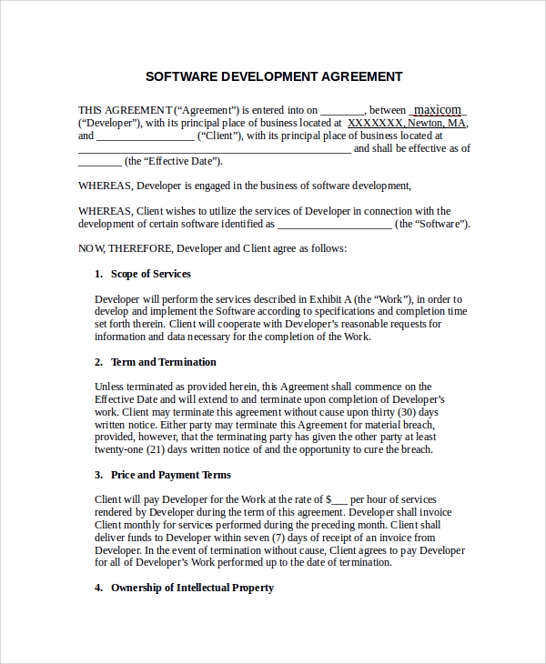 software development agreement example