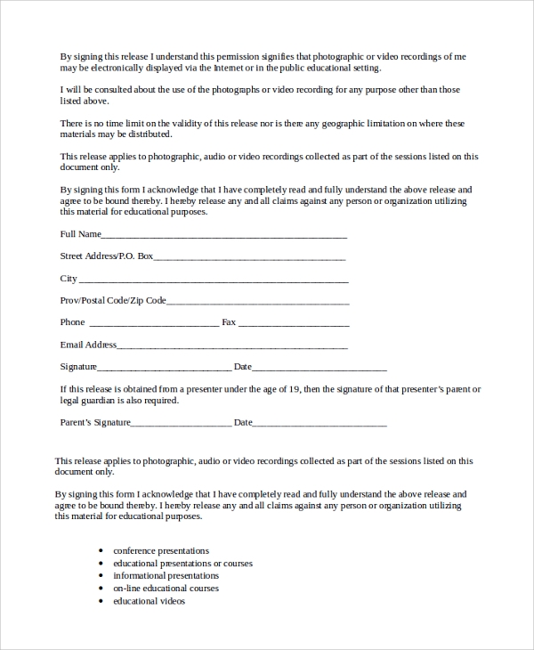 Sample Talent Release Form Template   Free Documents Download In