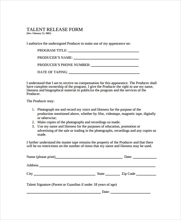 Sample Talent Release Form Template   Free Documents Download