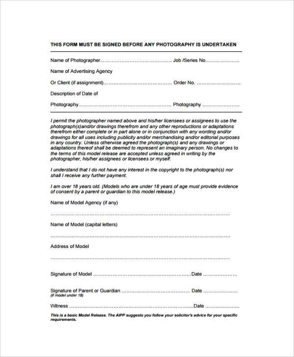 model talent release form