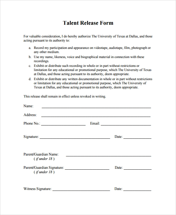 Talent Contract Template   Sle Talent Release Form Template 9 Free Documents