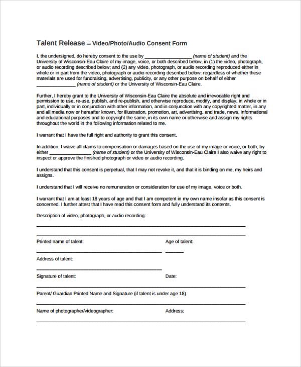 multi talent release form