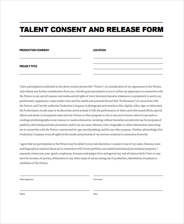 Sample Talent Release Form Template - 9+ Free Documents Download