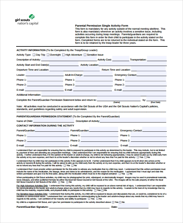 Sample Permission Form Template - 9+ Free Documents Download in PDF