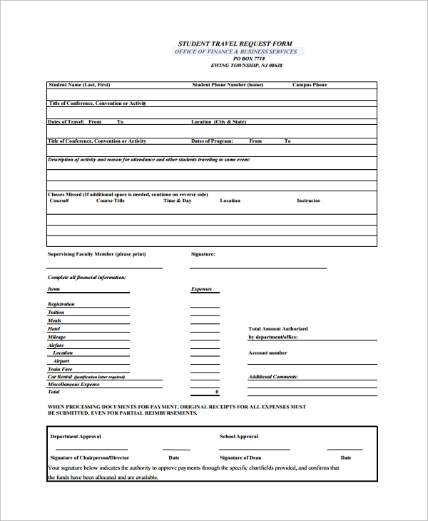 Sample Travel Request Form 9 Free Documents Download in PDF Word – Student Request Form