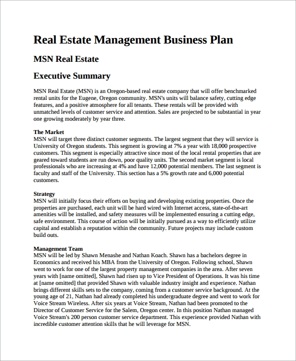 Service Plan Templates Estate Business Plan Template Sample Estate
