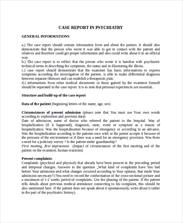 psychiatry case report template