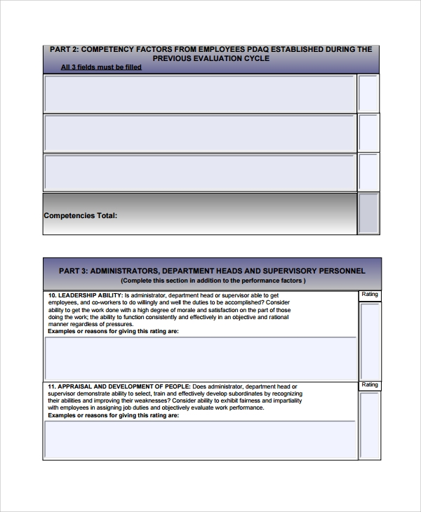 Sample Performance Review Form Template   Free Documents