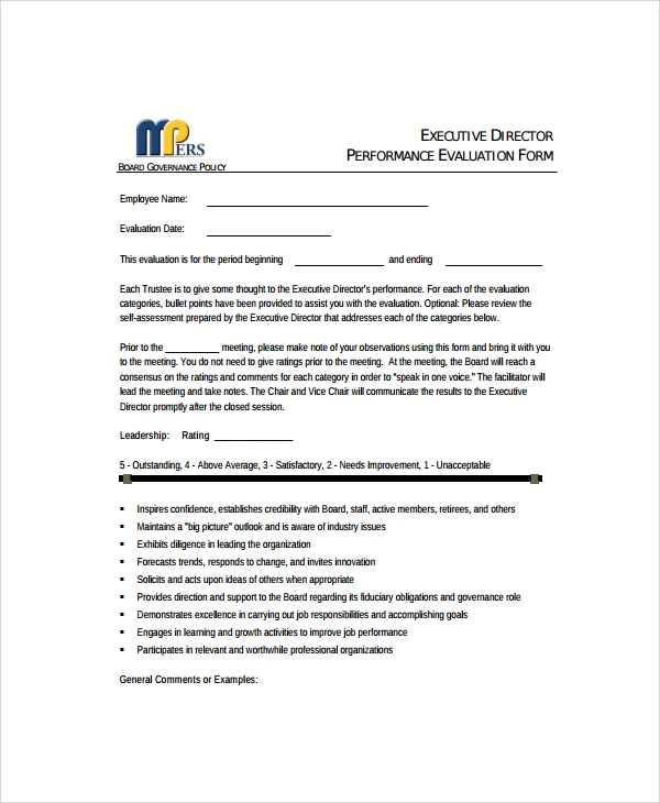 executive performance review form