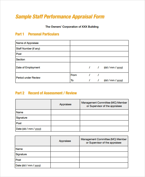 Yearly Appraisal  Yearly Appraisal Form Templates Printable Word