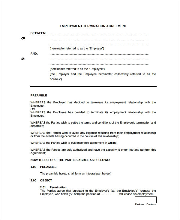 Sample Employment Termination Agreement Templates   Free