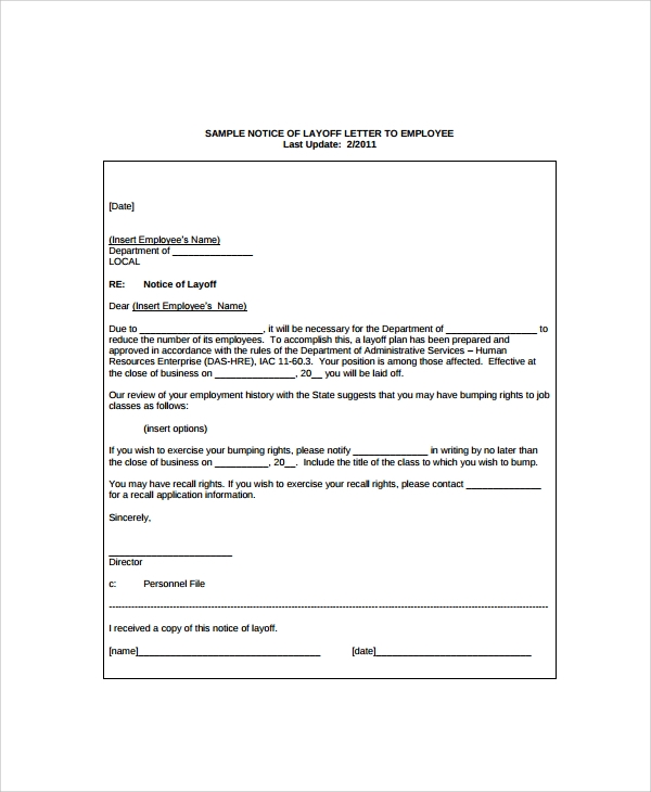 layoff letter template alberta 7 layoff notice templates sample templates 8415