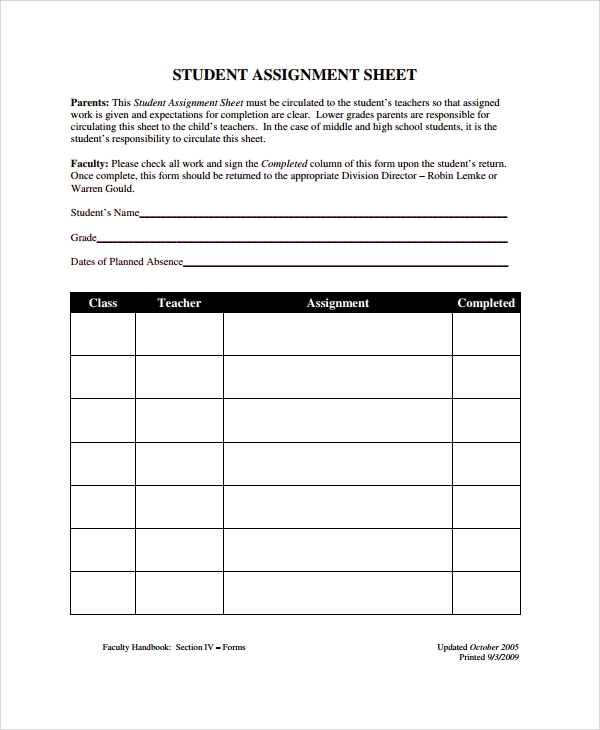 Sample Assignment Sheet Template   Free Documents Download In