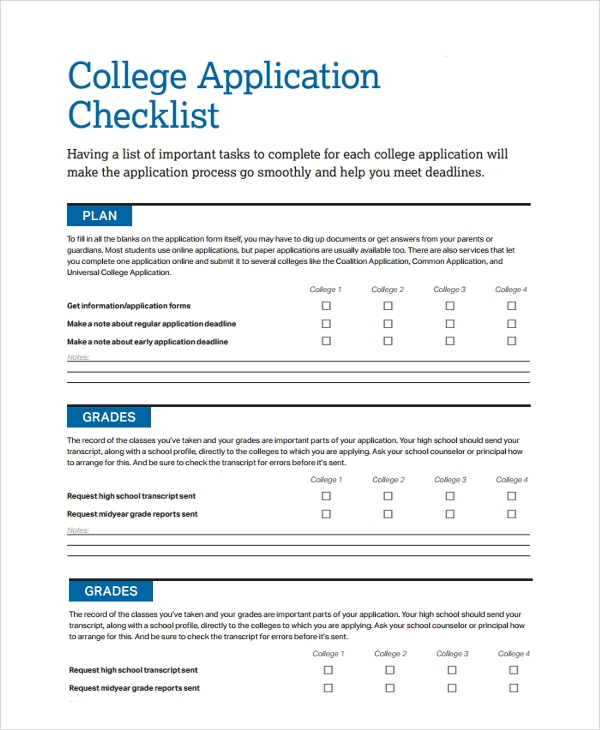 Sample College Checklist. Free Resume Evaluation Free Resume ...