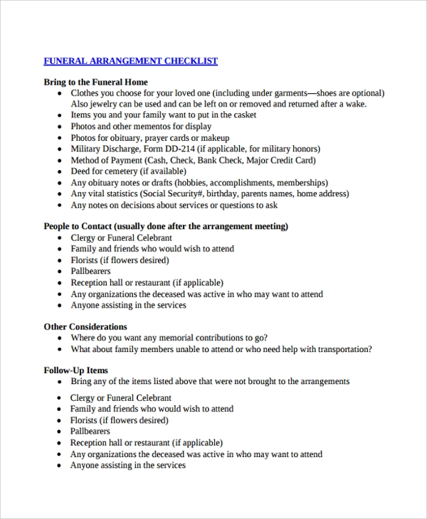 Sample Checklist Template   Free Documents Download In Pdf Word